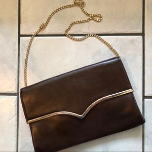 ◽️vintage◽️brown patent leather chain strap bag